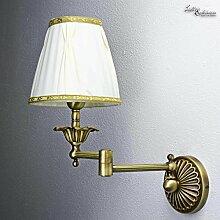 Wandlampe Weiß Stoffschirm Echtes Messing