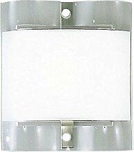 Wandleuchte 1 flammig Stahl mit Milch Glas Schirm satiniert Wand Spot eckig (Wandlampe, Wandstrahler, Flur Lampe, Wohnzimmer Leuchte, 23,5 x 21 cm cm, inkl. Leuchtmittel 1 x 120 Watt, warmweiß)