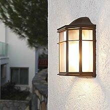 Wandleuchte 25,2 cm | Wand-Laterne rustikaler Landhaus-Stil | antike Außenleuchte | Terrassenbeleuchtung in klassischer Form | braune Außenwandleuchte E27 + Wandlampe IP23 + dimmbar