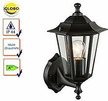 Wandleuchte / Außenleuchte Laterne Schwarz mit LED, Fassadenbeleuchtung E27, Globo Lighting