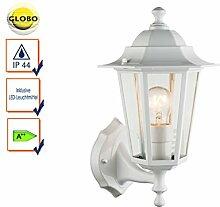 Wandleuchte / Außenleuchte Laterne weiß mit LED, Fassadenbeleuchtung E27, Globo Lighting