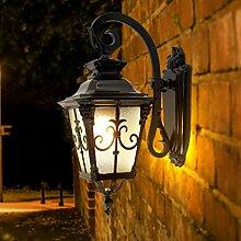 Wandleuchte draussen Ganglichter Korridor Lichter Balkonlampe wasserdicht Sonnenschutz Retro Wandleuchten Terrasse Villa A+ ( Color : Brass-34*56cm(13.4*22.1in) )