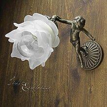 Wandleuchte Echt-Messing Glasschirm Blütenform