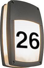 Wandleuchte Glow recta 1 dunkelgrau mit Hausnummer