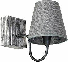 Wandleuchte Grau Holz Wandlampe Stoffschirm
