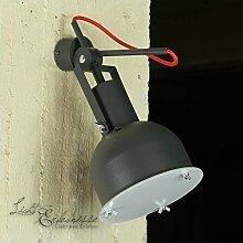 Wandleuchte in Grau Rot Vintage Design inkl. 1x 12W E27 LED 230V Wandlampe aus Metall & Glas für Esszimmer Schlafzimmer Flur Küche Lampe Leuchten Beleuchtung innen