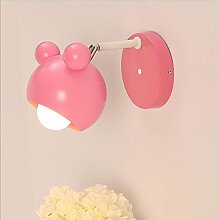 Wandleuchte Kinder Kinderlampe Wand Metall Nachttischlampe Wandlampe E27 Warmweiß 3000K schwenkbar Leselampe Schlummerlampe für Kinderzimmer Wohnzimmer Schlafzimmer Korridor Gang Balkon (rosa)