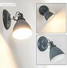 Wandleuchte KOPPOM aus Metall in Grau-Blau – Zimmerlampe für Wohnzimmer – Flur – Schlafzimmer – Wandlampe mit dreh- und schwenkbarem Lampenschirm – 1x E14-Fassung 40 Watt – Lese-Lampe