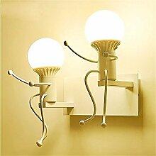 Wandleuchte kreative Eisen kunst Wandleuchte kreative Schlafzimmer Bett Wandleuchte led warm Korridor einfache Kreative weiß Doppel Kopf Wandleuchte