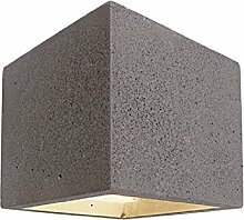 Wandleuchte LED G9Beton Stein Kubus biemissione Wandleuchte Rustikal Innen–Licht weiß kalt Finish grau dunkel
