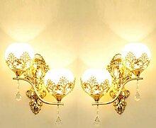 Wandleuchte,LED Kristall Wandlampe Gold Wohnzimmer