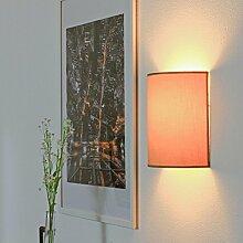 Wandleuchte Loft Stil kaffee-braun Wandlampe mit Stoff Schirm 1x E27 max 60W Wohnzimmerlampe eckig Schlafzimmer Flur Beleuchtung