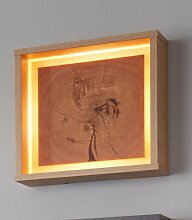 Wandleuchte, mit Rahmen H:33 cm braun LED-Lampen