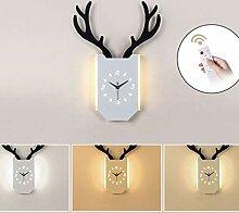 Wandleuchte Nordic LED Hirschkopf Uhr Licht Holz