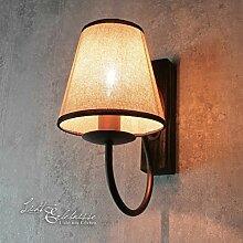 Wandleuchte rustikal / Braun & Beige / 1x E14 bis zu 60 Watt 230V / Landhaus Lampen / Shabby Chic / Holz / Wandleuchte Wohnzimmer Wandlampe innen
