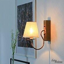 Wandleuchte rustikal / Shabby Weiß & Beige / 1x E14 bis zu 60 Watt 230V / Landhaus Lampen / Shabby Chic / Holz / Wandleuchte Wohnzimmer Wandlampe innen