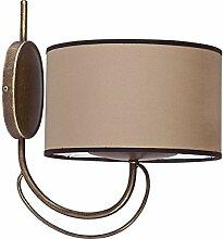 Wandleuchte Vintage / braun / E14 230V / Wandlampe rustikal / Landhaus Leuchte / Wandleuchte mit Stoffschirm / Wohnzimmerlampe Schlafzimmer Lampe