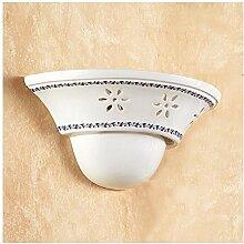 Wandleuchte wand-lampe aus keramik mit schirm gearbeitet und dekoriert mit rustikalen country-retro – Ø cm.30 - Rosso