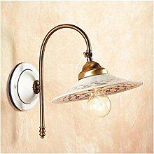 Wandleuchte wand-lampe in messing satiniert, schirm aus keramik verziert, im vintage-landhausstil – Ø cm.21 - Marrone