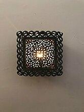 Wandleuchte Wand Lampe Laterne quadratisch in Aluminium Art Marokko Marokkanisches Design Ethnic