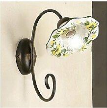 Wandleuchte wandleuchte mit 1 licht in eisen mit flachbild-schirm aus keramik, wellblech verziert retro-vintage - h. 29 cm - Verde