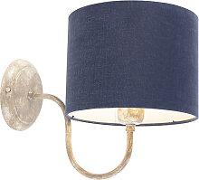 Wandleuchte Zylinder Schirm beige mit blau - Combi