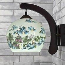 Wandleuchten, Massivholz Chinesische Keramik Wandleuchte Wandleuchte den Nachttisch Schlafzimmer Wohnzimmer Flur Dekoration Lampen, S