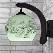 Wandleuchten, Massivholz Chinesische Keramik Wandleuchte Wandleuchte den Nachttisch Schlafzimmer Wohnzimmer Flur Dekoration Lampen, E