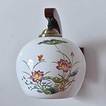 Wandleuchten, Massivholz Chinesische Keramik Wandleuchte Wandleuchte den Nachttisch Schlafzimmer Wohnzimmer Flur Dekoration Lampen, EIN