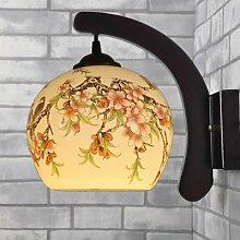Wandleuchten, Massivholz Chinesische Keramik Wandleuchte Wandleuchte den Nachttisch Schlafzimmer Wohnzimmer Flur Dekoration Lampen, O