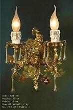Wandleuchter, Wandlampe, Messing Barock antik Glas