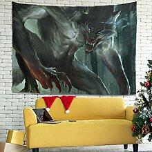 Wandlovers Blutwolf Krieger Wald Wandbehang
