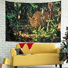 Wandlovers Cougar Dschungel Wandbehang Tapisserie