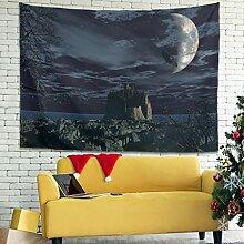 Wandlovers Dunkler Bergdrache Mondnacht Wandbehang