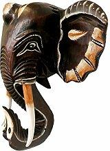 Wandmaske Elefant, 40cm, handgeschnitzt und