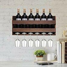 Wandmontiertes Weinregal und Glashalter –