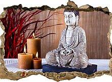 wandmotiv24 3D-Wandsticker Buddha-Statue und