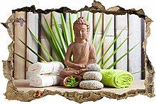 wandmotiv24 3D-Wandsticker Buddha und Sauna Design