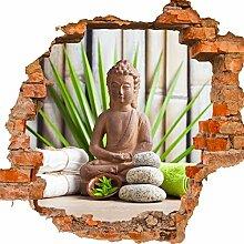 wandmotiv24 3D-Wandsticker Buddha und Sauna,