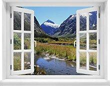 wandmotiv24 3D-Wandsticker Fjordlandschaft Natur