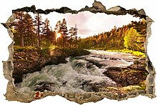 wandmotiv24 3D-Wandsticker Fluss in Norwegen