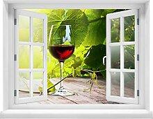 wandmotiv24 3D-Wandsticker Glas mit Rotwein im