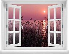 wandmotiv24 3D-Wandsticker See im Abendrot Natur