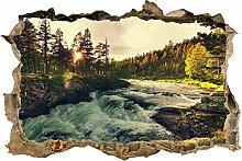 wandmotiv24 3D-Wandsticker Sonnenuntergang, Fluss