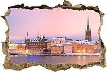 wandmotiv24 3D-Wandsticker Stockholm Panorama