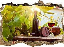 wandmotiv24 3D-Wandsticker Weinberg und Wein,