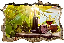 wandmotiv24 3D-Wandsticker Weinberg und Wein