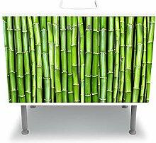 wandmotiv24 Badunterschrank weiß, Bambuswand