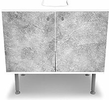 wandmotiv24 Badunterschrank weiß, Betonmauer -