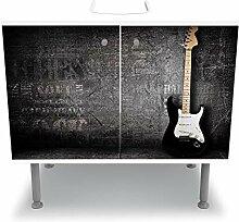 wandmotiv24 Badunterschrank weiß, E-Gitarre